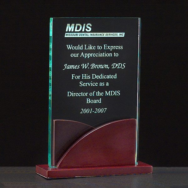 Acrylic Award on a Mahogany Finish Base