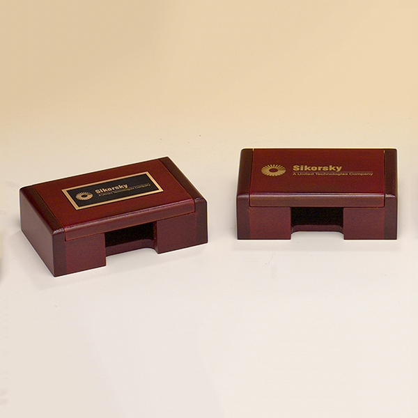 Rosewood-finish Business Card Box