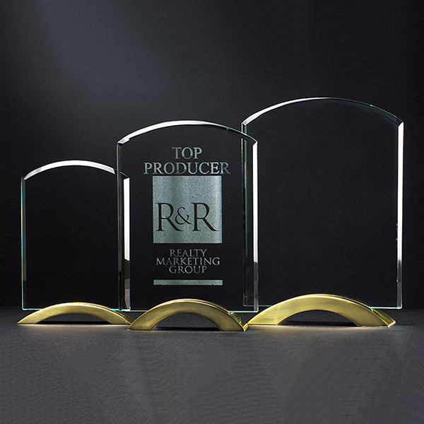 Arch Series Glass Award with Gold Metal Base