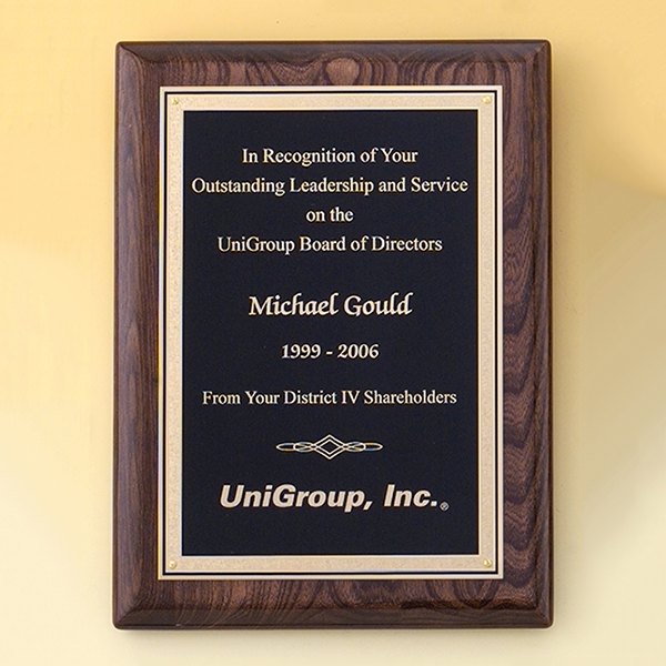 Walnut Stained Piano Finish Plaque with Brass Plate