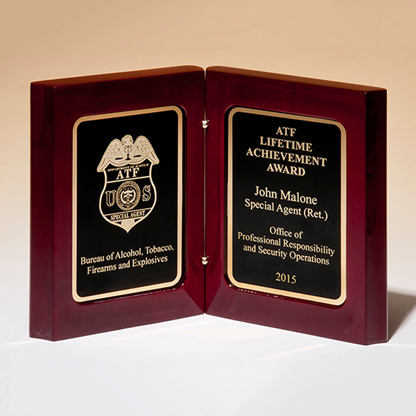 High Gloss Rosewood Stained Book Award
