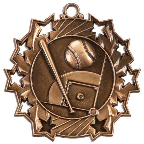 2 1/4 inch Baseball Ten Star Medal