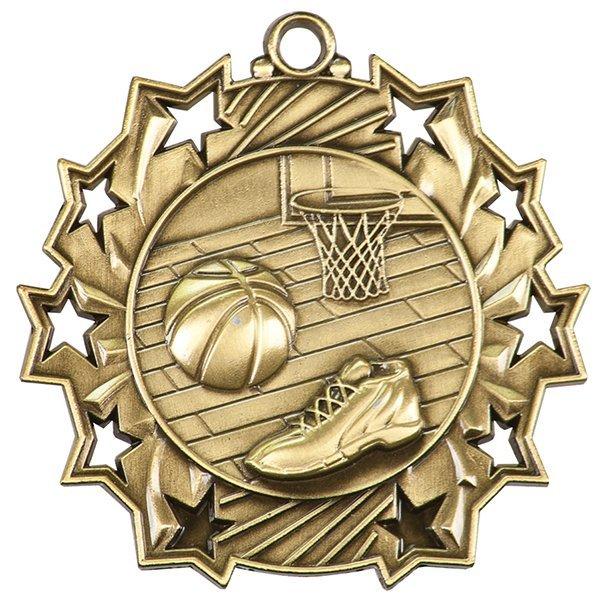 2 1/4 inch Basketball Ten Star Medal