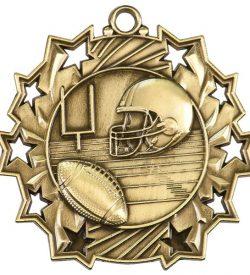 2 1/4 inch Football Ten Star Medal