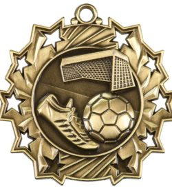 2 1/4 inch Soccer Ten Star Medal