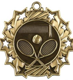 2 1/4 inch Tennis Ten Star Medal