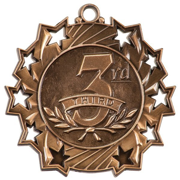 2 1/4 inch Bronze 3rd Place Ten Star Medal
