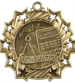 2 1/4 inch Math Ten Star Medal
