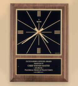 American Walnut Vertical Wall Clock with Square Face.