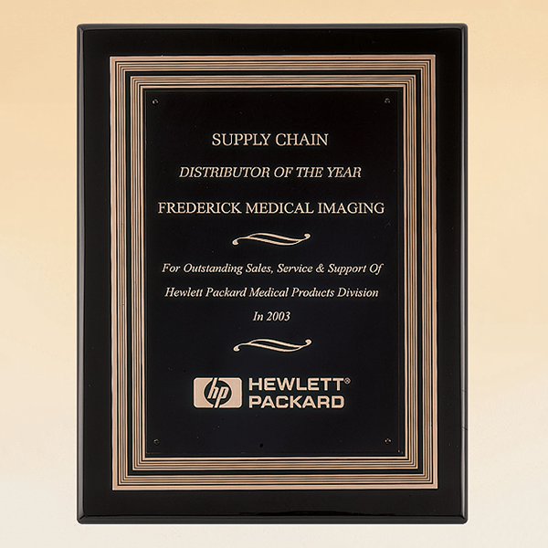 Black Piano Finish Plaque with Gold and Black Embossed Frame ...