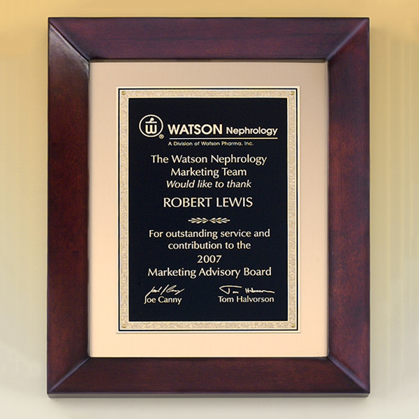 Cherry Finish Wood Frame Plaque - Trophy Factory Plus Framing