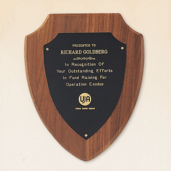 Walnut Shield Plaque with Brass Engraving Plate