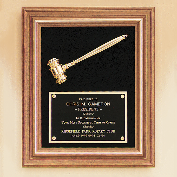 American Walnut Frame Gavel Plaque - Trophy Factory Plus Framing
