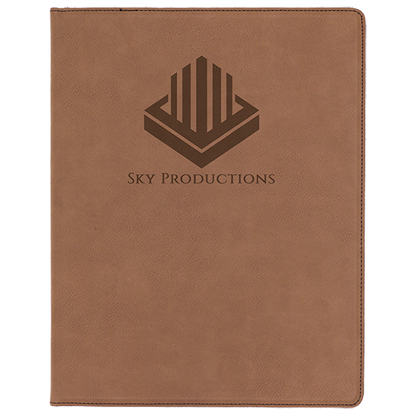 Dark Brown Laserable Leatherette Portfolio with Notepad