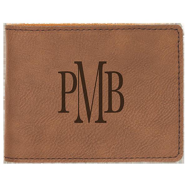 Dark Brown Laserable Leatherette Bifold Wallet