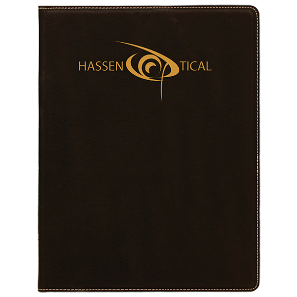 Black Laserable Leatherette Mini Portfolio with Notepad