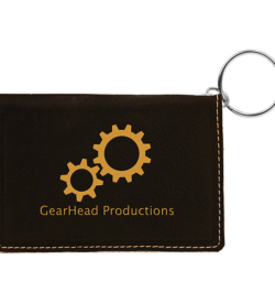 Black Laserable Leatherette Keychain ID Holder