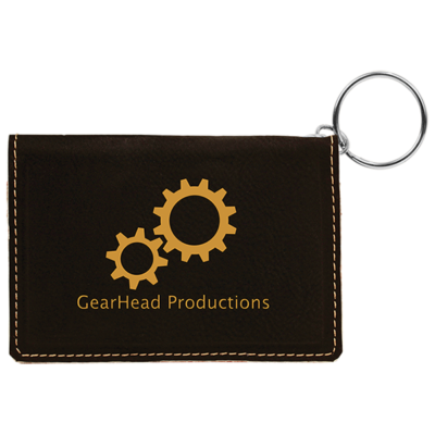 Black Laserable Leatherette Keychain ID Holder