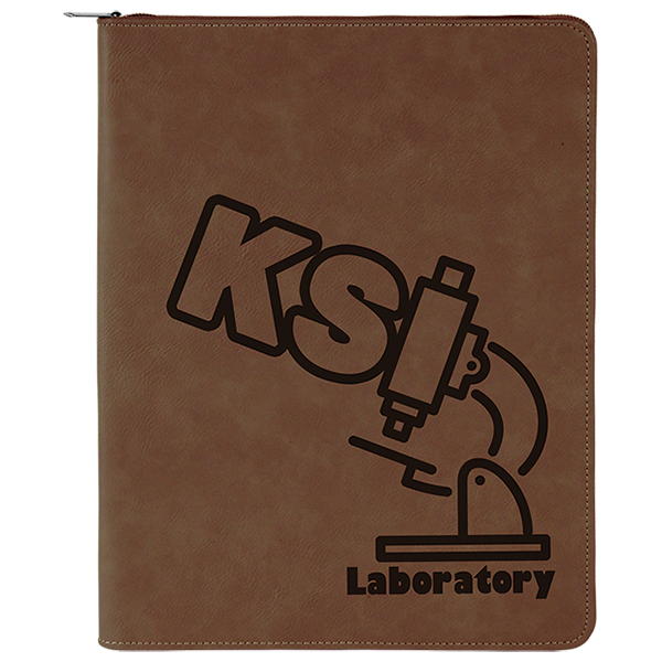 Dark Brown with Zipper Laserable Leatherette Portfolio with Notepad