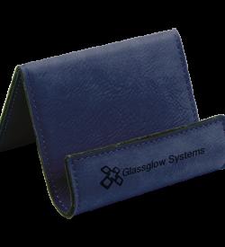 Blue Laserable Leatherette Holder Easel