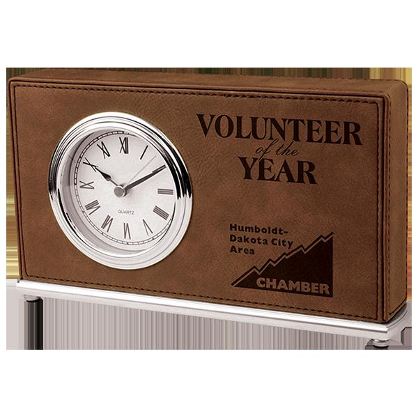 Dark Brown Laserable Leatherette Horizontal Desk Clock