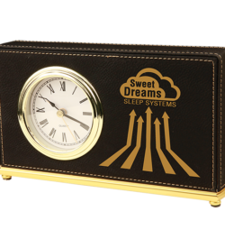 Black Laserable Leatherette Horizontal Desk Clock