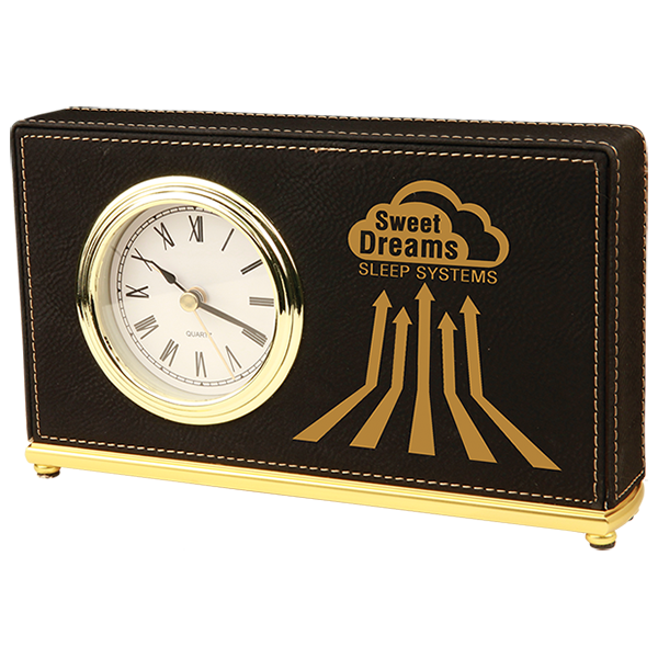Black Laserable Leatherette Horizontal Desk Clock