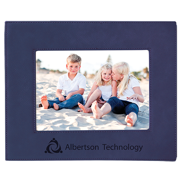 Blue Laserable Leatherette Picture Frame