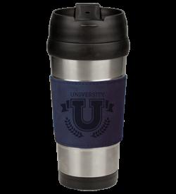 Blue Laserable Leatherette Stainless Steel Travel Mug