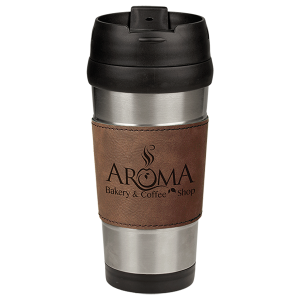 Dark Brown Laserable Leatherette Stainless Steel Travel Mug