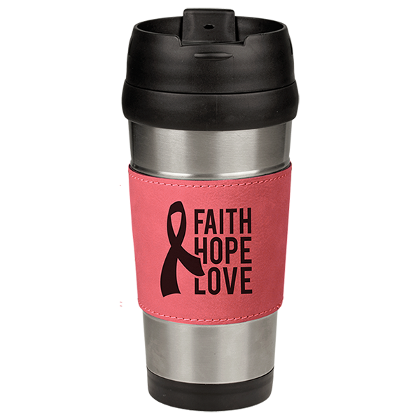 Pink Laserable Leatherette Stainless Steel Travel Mug