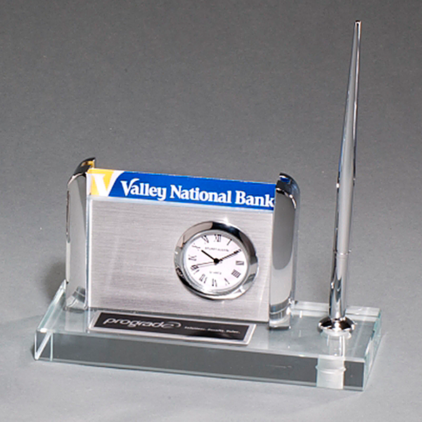Clock, Pen and Business Card Holder on Clear Glass Base
