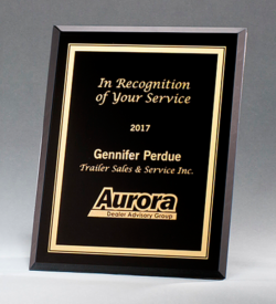 Black Glass Plaque with Gold Border