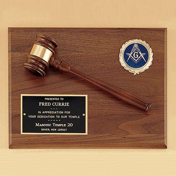 Gavel plaque with activity casting and solid brass engraving plate ...