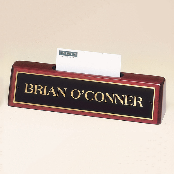 Rosewood Piano Finish Nameplate with Business Card Holder