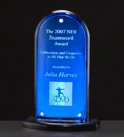 Arch Series Acrylic Award Featuring a Blue Mirror Upright