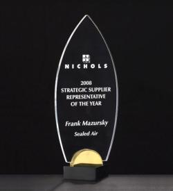 Flame Acrylic Award on Black and Gold Metal Base.