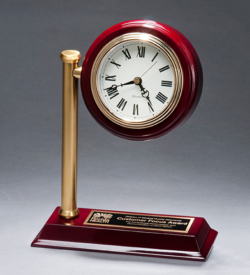 Rail Station Rosewood Piano Finish Photo Desk Clock