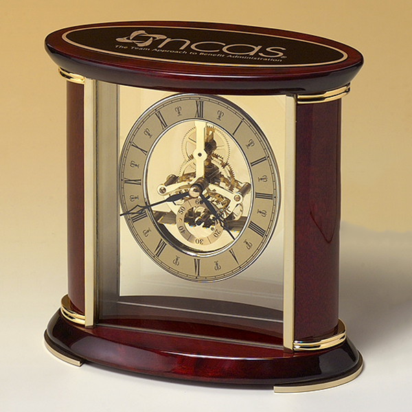 Skeleton Clock with Brass and Rosewood Piano Finish