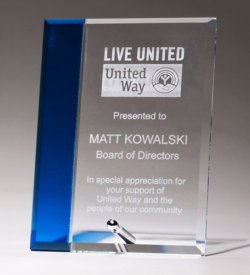 Clear Glass Award with Sapphire Blue Highlight and Silver Plated Post