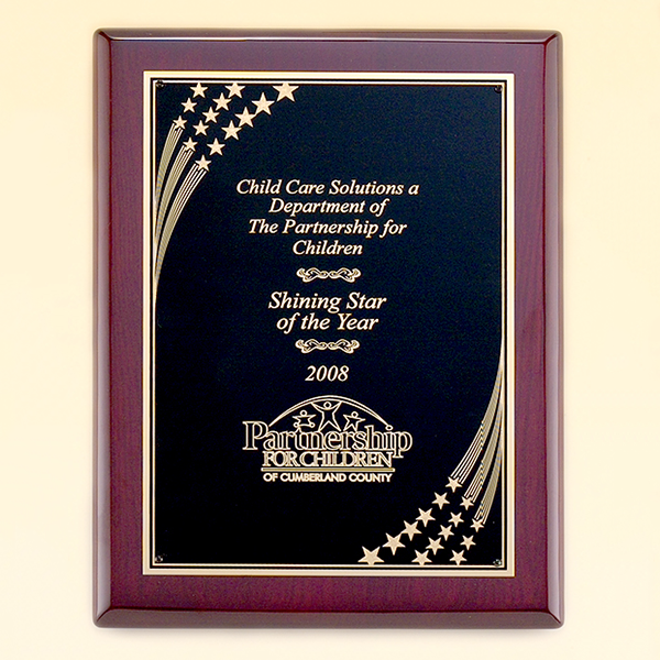Rosewood Piano Finish Plaque with Brass Plate