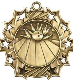 2 1/4 inch Bowling Ten Star Medal