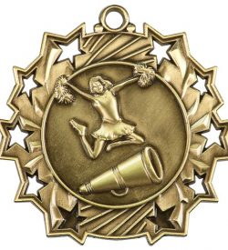 2 1/4 inch Cheerleading Ten Star Medal