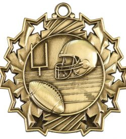 2 1/4 inch Football Ten Star Medal