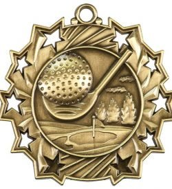2 1/4 inch Golf Ten Star Medal