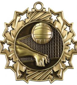 2 1/4 inch Volleyball Ten Star Medal