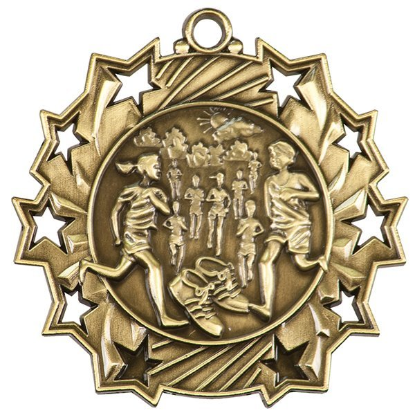 2 1/4 inch Cross Country Ten Star Medal