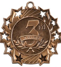 2 1/4 inch Bronze 3rd Place Ten Star Medal
