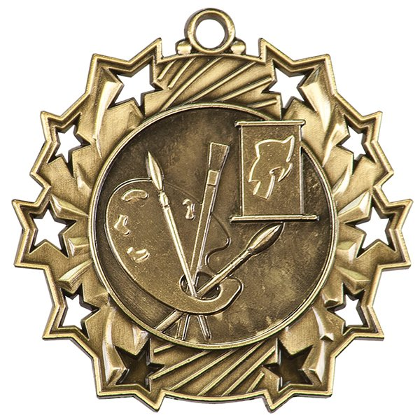2 1/4 inch Art Ten Star Medal
