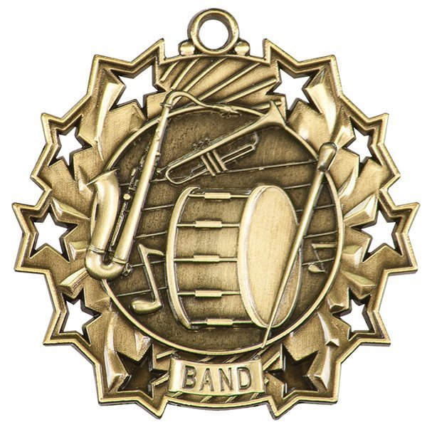 2 1/4 inch Band Ten Star Medal